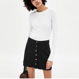 Zara Faux Suede Button Up Skirt